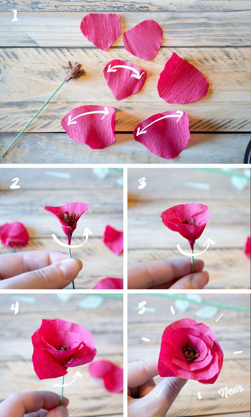 Fleurs Hawaiennes En Papier Crépon destiné Comment Faire Une Rose Avec Du Papier