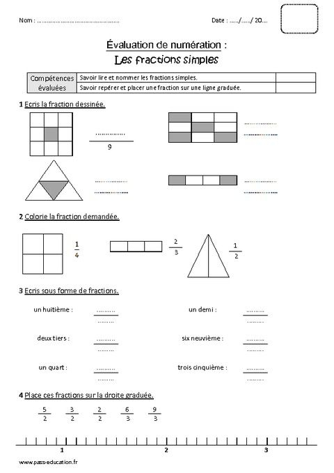 Fractions Simples - Cm1 - Bilan À Imprimer | Exercice Cm1 encequiconcerne Exercice Gs En Ligne