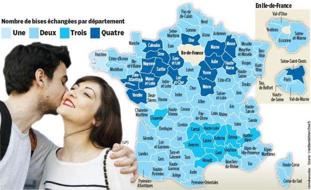France : Une, Deux, Trois Ou Quatre Bises ? Une Carte Pour tout Combien De Departement En France