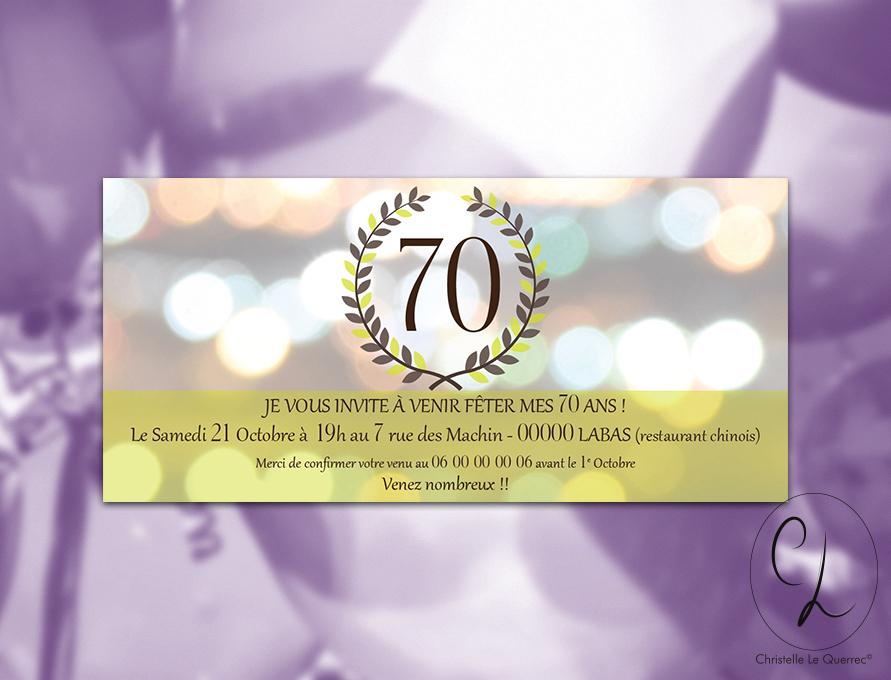 Graphiste Indépendante Carte D'Invitation Anniversaire 70 destiné Texte D Invitation Anniversaire 70 Ans