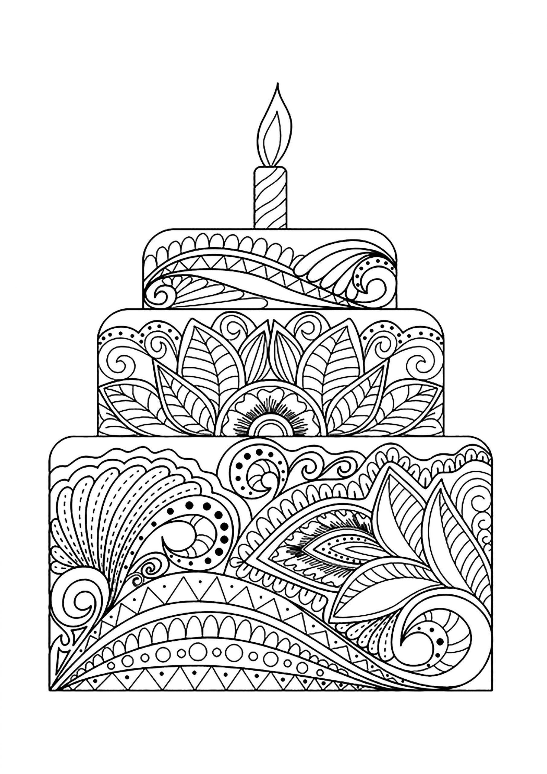 Gros Gâteau Fleuri - Cupcakes Et Gâteaux - Coloriages encequiconcerne Dessin Pour Anniversaire Adulte