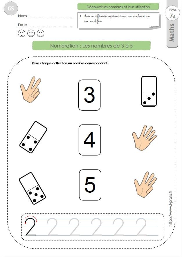 Gs: Exercices Mathematiques Les Nombres 3, 4, 5 En destiné Exercices Grande Section Maternelle Pdf