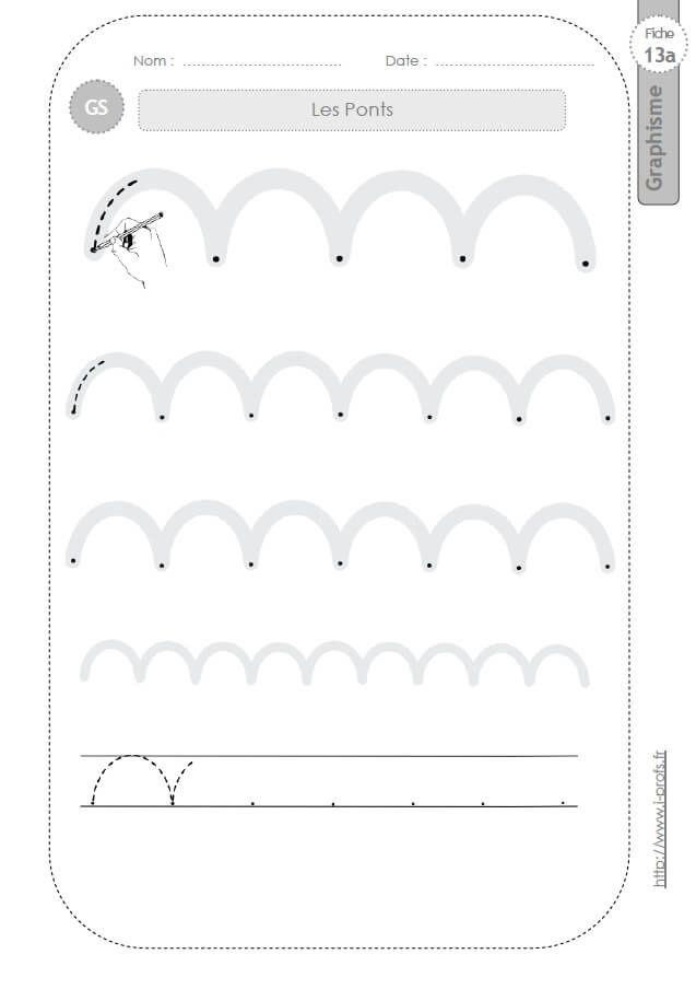 Gs:graphisme Et Ecriture Cursive. Fiches Sur Les Ponts intérieur Graphisme Moyenne Section Les Ponts