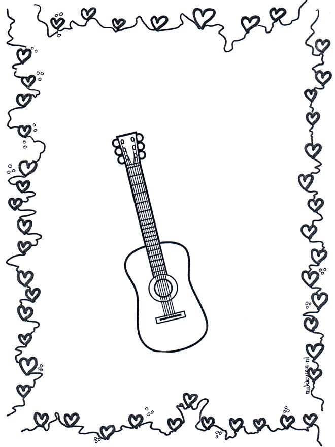 Guitare 2 - Coloriages Musique serapportantà Note De Musique A Colorier