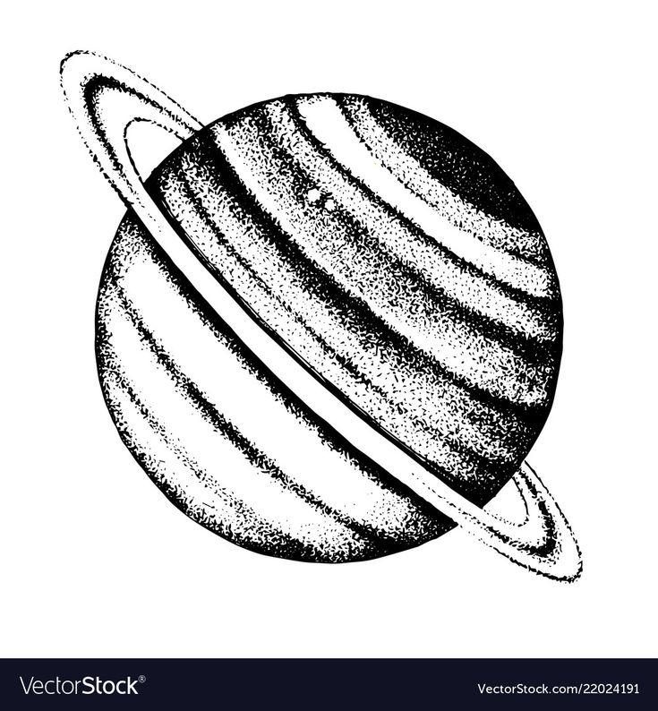 Hand Drawn Black And White Saturn Planet. Vector intérieur Saturne Dessin