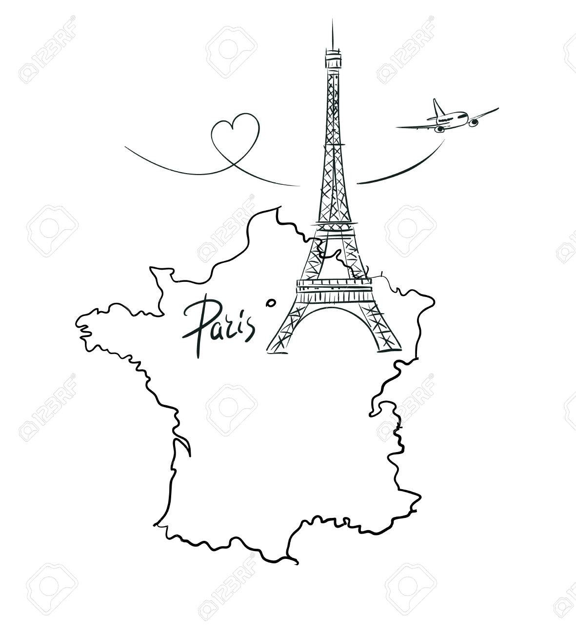 Hand Drawn Illustration With Eiffel Tower And Map Of serapportantà Dessin Carte De France