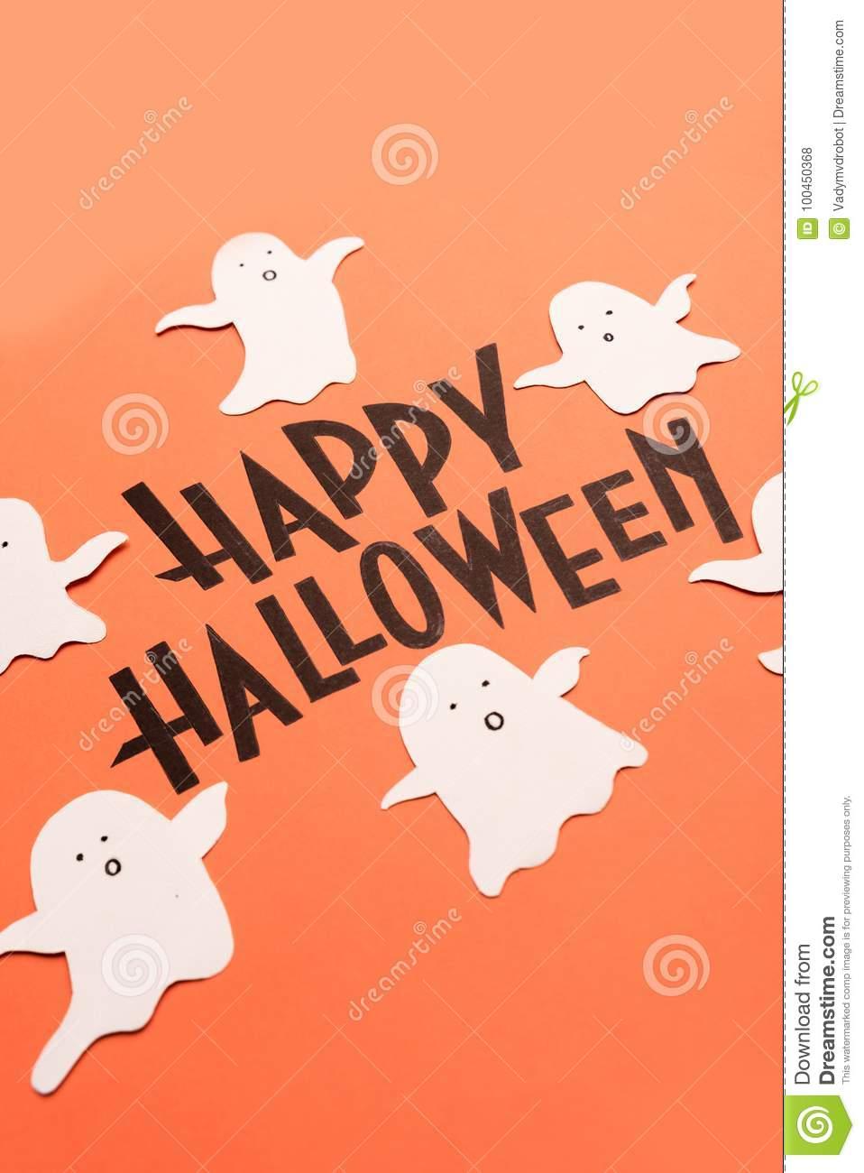 Hand Written Phrase Happy Halloween With Ghosts Near It destiné Phrase D Halloween