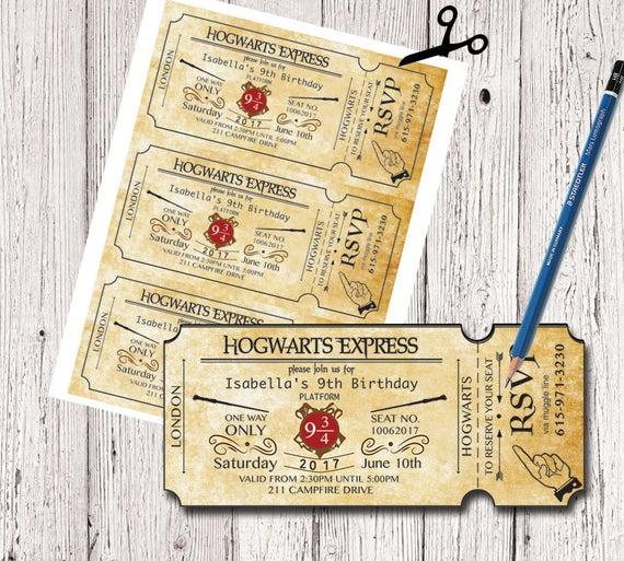 Harry Potter Geburtstag Ticket Einladung Einladung Von pour Invitation Anniversaire Train