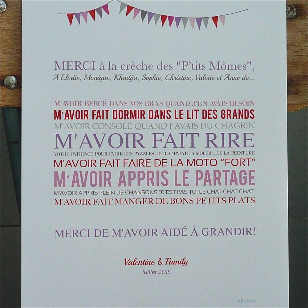 Image Of Affiche Merci À La Crèche   Diy For Kids concernant Poeme Pour Maitresse D Ecole