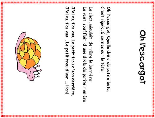Imprimer La Chanson Oh L'Escargot Texte Et Partition concernant La Pomme Et L Escargot Paroles
