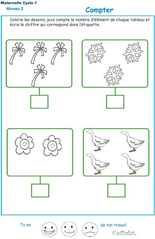 Imprimer L'Exercice 3 Pour Apprendre À Compter Maternelle destiné Fiche D Exercice Grande Section A Imprimer