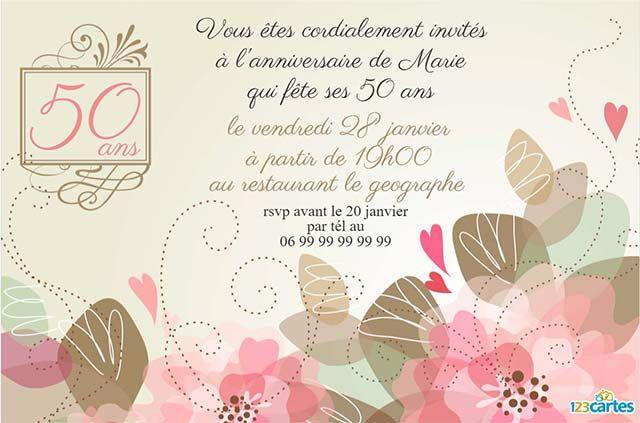 Invitation Anniversaire 50 Ans Fleurs Romantiques   123Cartes serapportantà Idée Texte Invitation Anniversaire 50 Ans