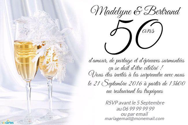 Invitation Anniversaire Mariage Flûtes De Champagne pour Texte Invitation 50 Ans De Mariage Noces D Or