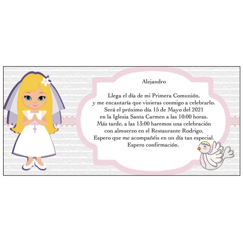 Invitation De Communion Fille Personnalisée, Invitations À intérieur Invitation Originale Communion