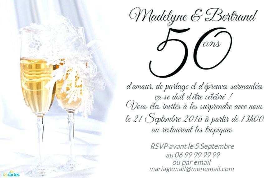 Invitations Anniversaire 50 Ans De Mariage pour Texte Pour Invitation 50 Ans De Mariage