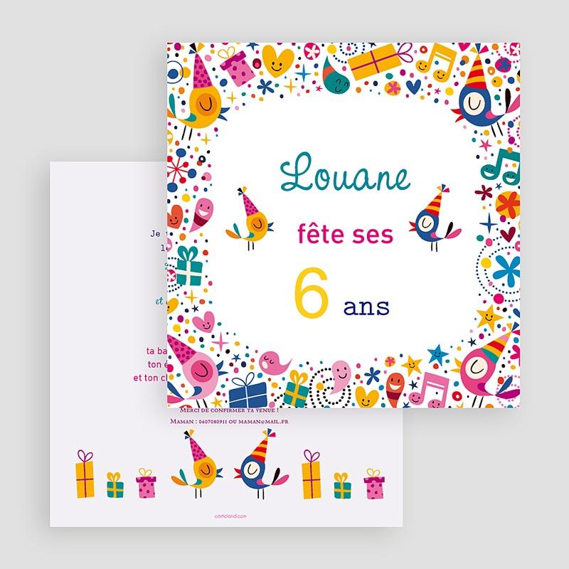 Invitations Anniversaire Fille - 6 Ans Vive La Fête destiné Invitation Anniversaire Fille 5 Ans