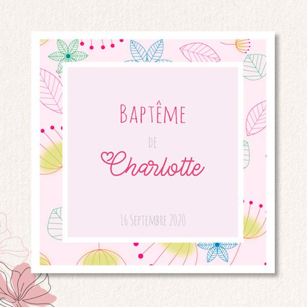 Invitations Baptême Fille - Heavent Papeterie intérieur Invitations Bapteme