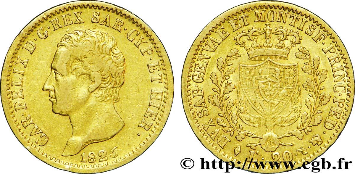 Italie - Royaume De Sardaigne 20 Lire Charles Félix Roi De destiné Roi De Sardaigne