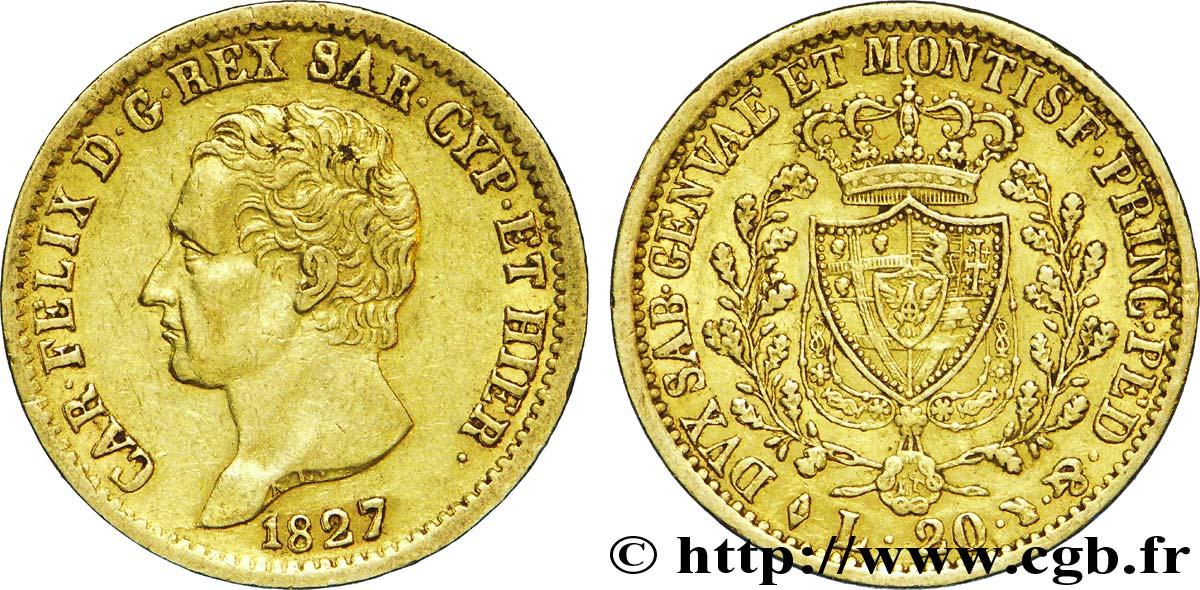Italie - Royaume De Sardaigne 20 Lire Charles Félix Roi De pour Roi De Sardaigne