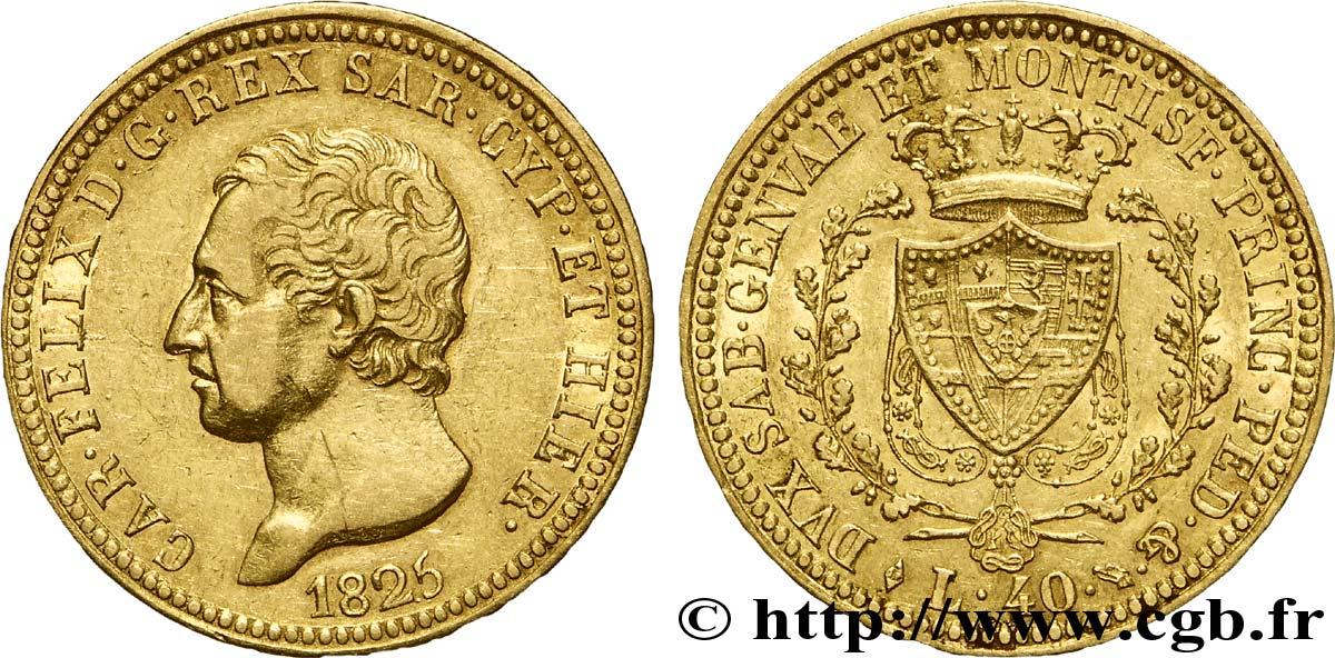 Italie - Royaume De Sardaigne 40 Lire Charles Félix Roi De dedans Roi De Sardaigne