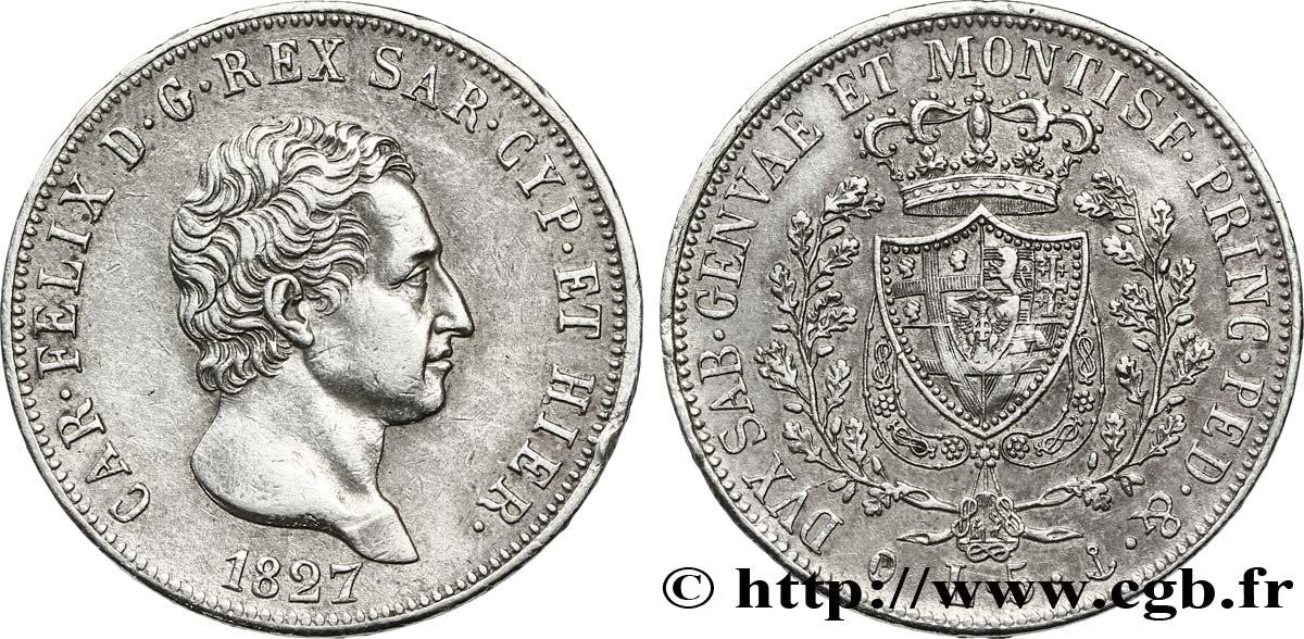 Italie - Royaume De Sardaigne 5 Lire Charles Félix, Roi De à Roi De Sardaigne
