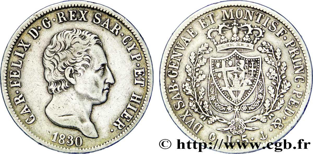 Italie - Royaume De Sardaigne 5 Lire Charles Félix, Roi De concernant Roi De Sardaigne
