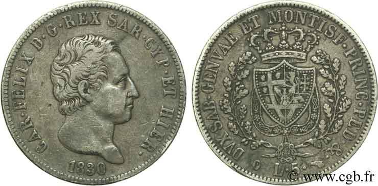 Italie - Royaume De Sardaigne 5 Lire Charles Félix, Roi De encequiconcerne Roi De Sardaigne