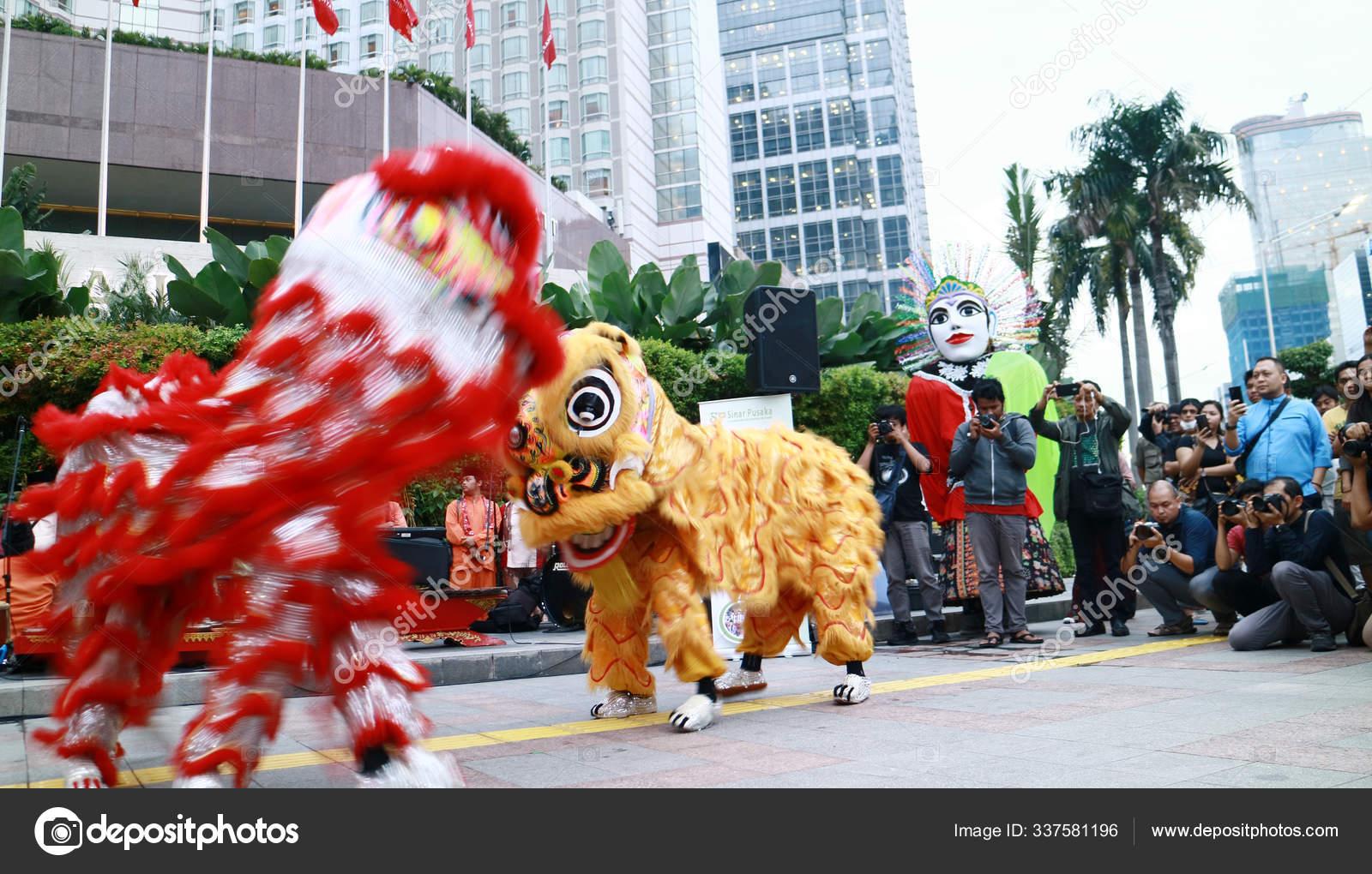 Jakarta Indonésie Janvier 2020 Les Gens Prennent Photo à Spectacle Danse Chinoise