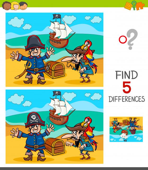 Jeu De Différences Avec Des Personnages De Pirates à Jeu Des Différences En Ligne
