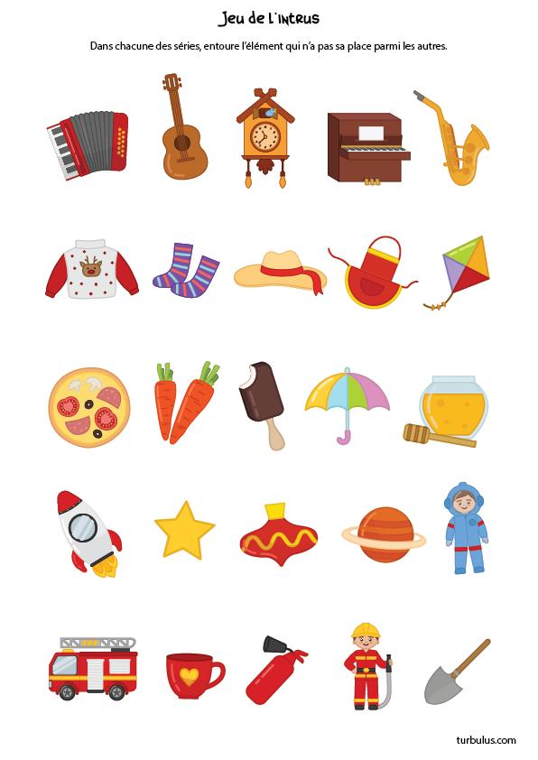 Jeu De L'Intrus À Imprimer - Turbulus, Jeux Pour Enfants destiné Jeux Enfant Maternelle