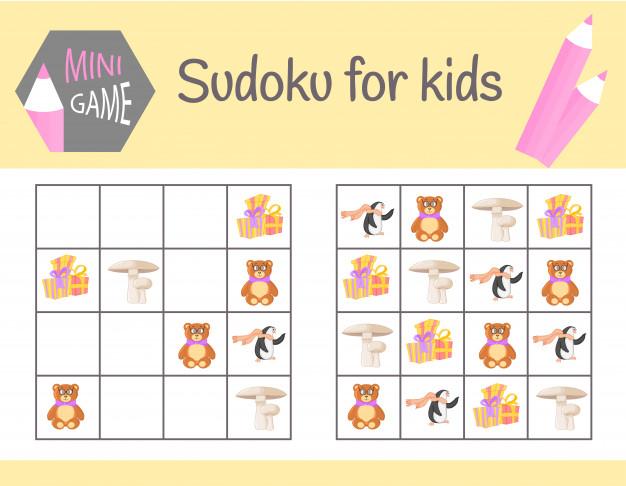 Jeu De Sudoku Pour Les Enfants Avec Des Images Et Des encequiconcerne Sudoku Animaux Maternelle