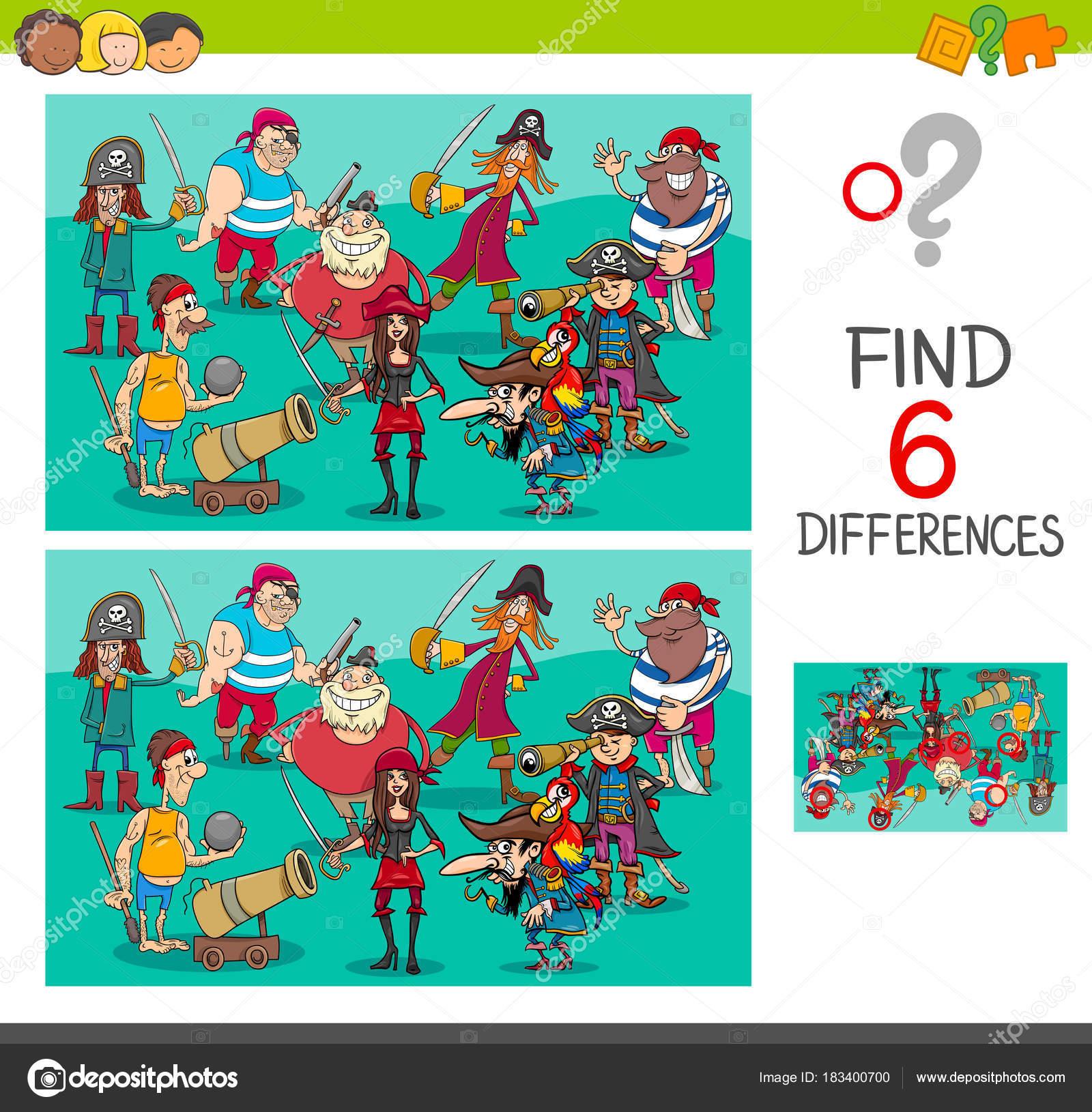 Jeu Des Différences Avec Les Caractères De Pirate — Image tout Jeux De Différence
