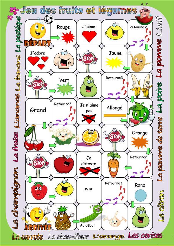 Jeu Des Fruits Et Légumes Fiche D'Exercices - Fiches avec Fruits Et Legumes Vocabulaire