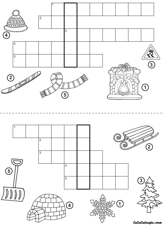 Jeu Du Mot Mystère À Imprimer ; L'Hiver - Lulu La Taupe à Jeux De Lettres À Imprimer