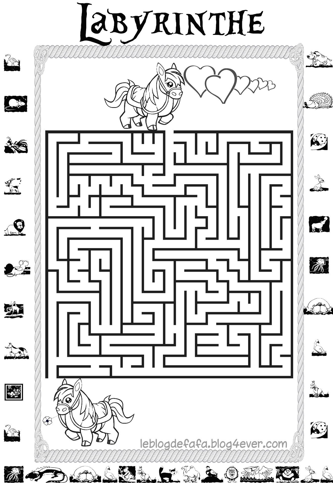 Jeux Chevaux Gratuits À Imprimer : Labyrinthes, Apprendre destiné Labyrinthe Difficile