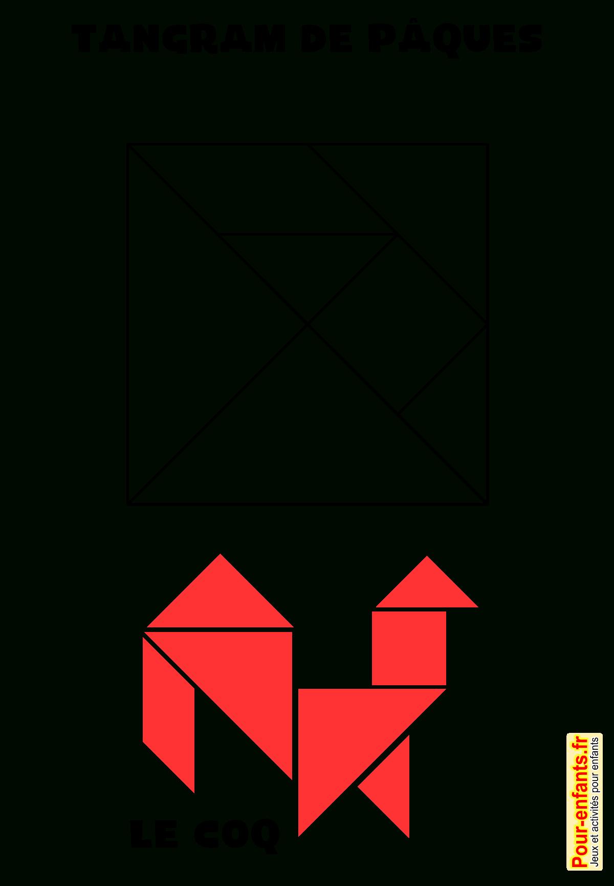 Jeux De Paques À Imprimer Tangram Dessin De Coq Jeu De concernant Tangram A Imprimer