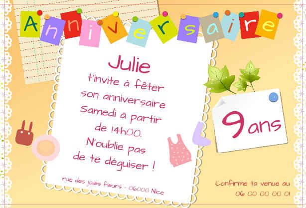 Jolies Cartes D'Invitation Anniversaire Gratuit | Texte intérieur Idée De Carte D Invitation D Anniversaire