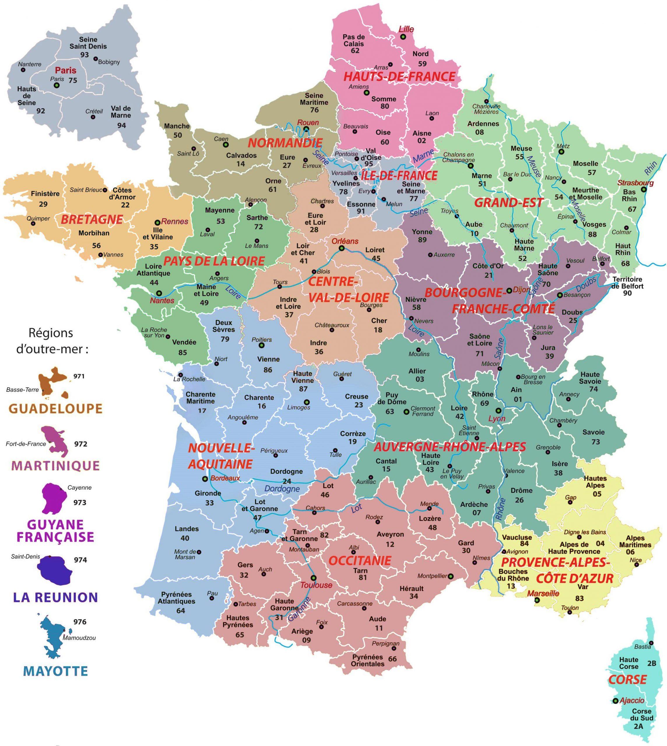 La Carte De France Avec Ses Régions - Arts Et Voyages avec Carte De France Avec Departement A Imprimer