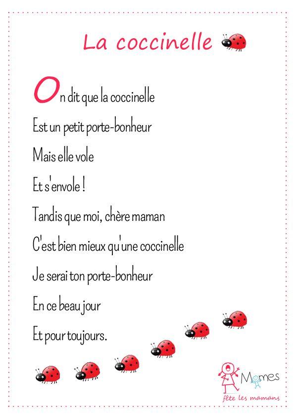 La Coccinelle | Poème Fête Des Mères, Fete Des Meres, Fete serapportantà Poeme Pour Fete Des Mere
