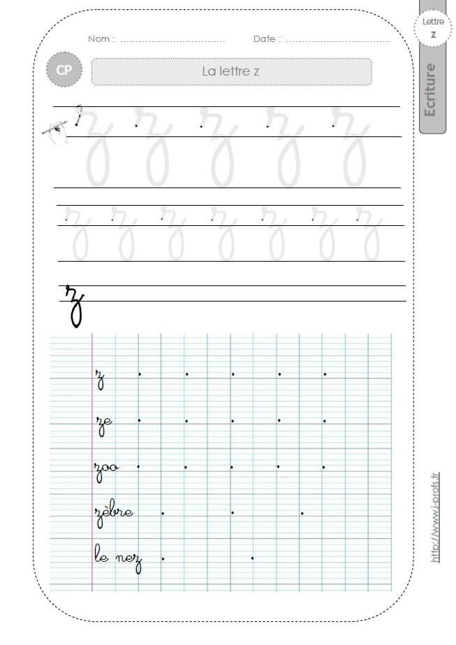 La Lettre Z Minuscule Au Cp:fiches D'Ecriture. Modèles D concernant Fiche D Écriture À Imprimer