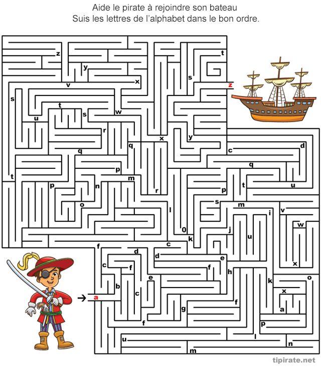 Labyrinthe-Alphabet | Labyrinthe Enfant, Labyrinthe avec Jeux De Lettres À Imprimer