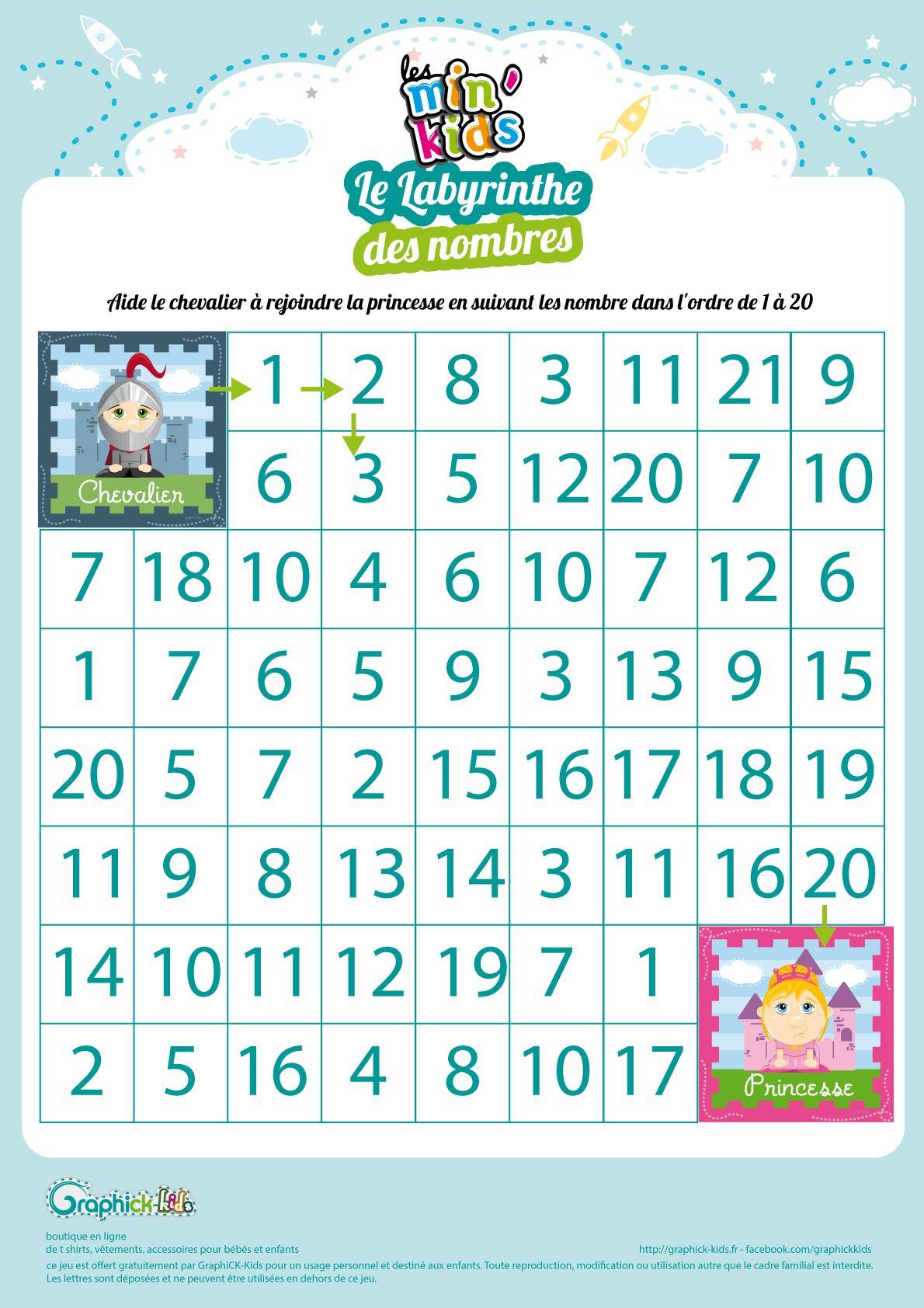 L'Activité Du Mercredi : Le Labyrinthe Des Nombres Min destiné Exercice De Maternelle A Imprimer Gratuit