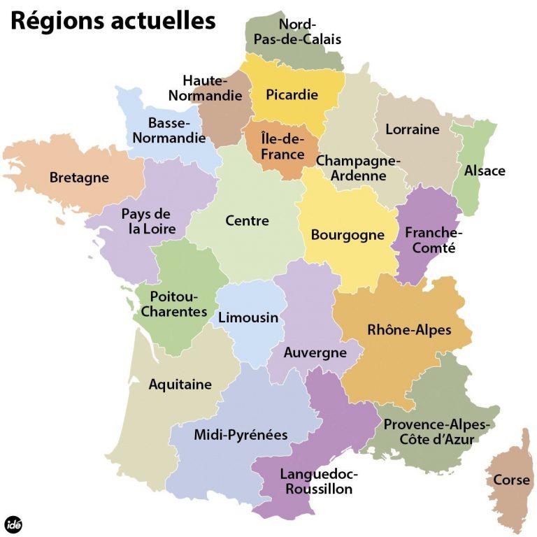 Le 22 Regions De La France Dedans Liste Des Régions De avec Régions De France Liste