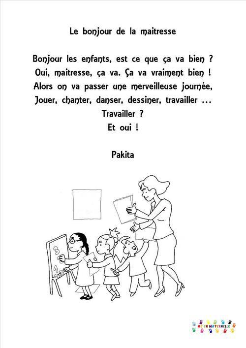 Le Bonjour De La Maitresse - Mc En Maternelle | Comptines intérieur Comptine Rentrée Maternelle