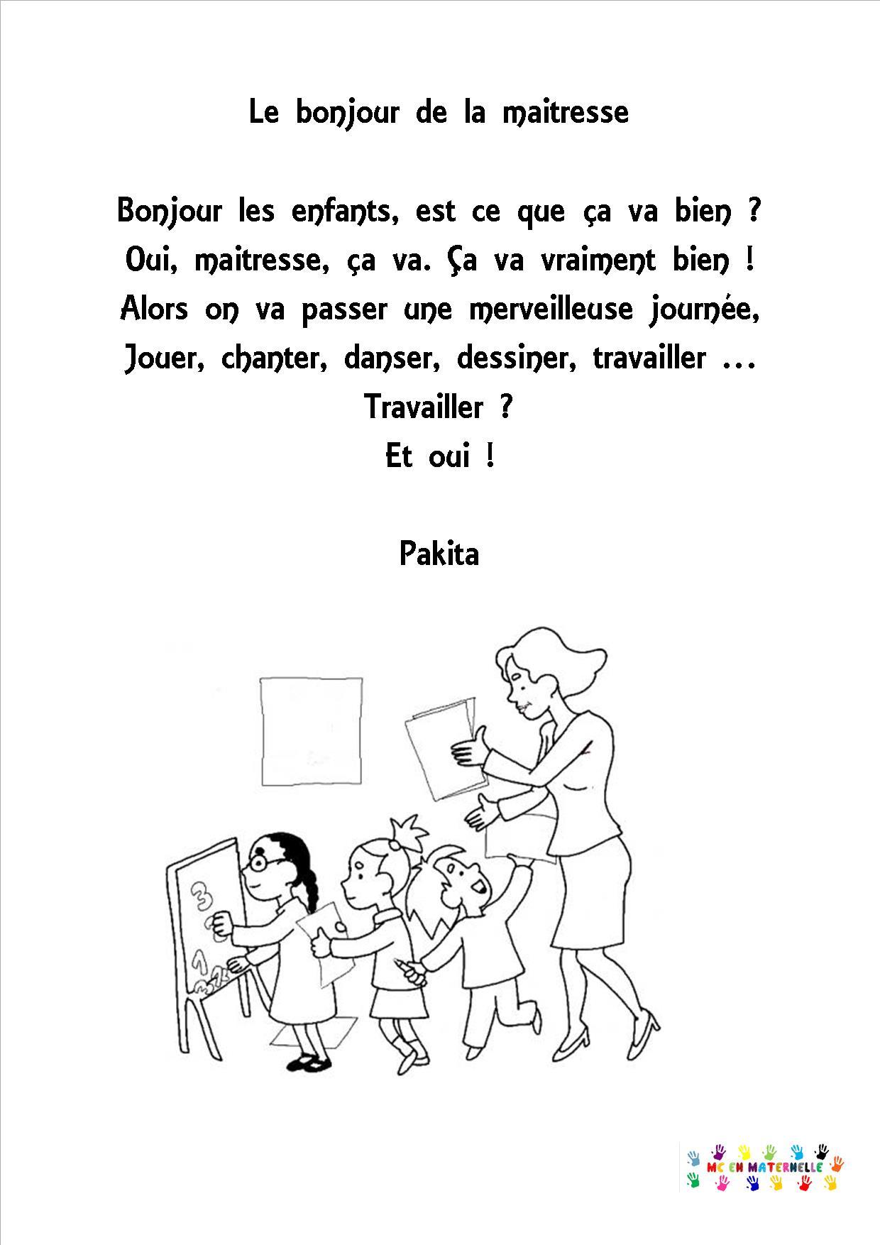 Le Bonjour De La Maîtresse - Mc En Maternelle dedans Poeme Pour Maitresse D Ecole