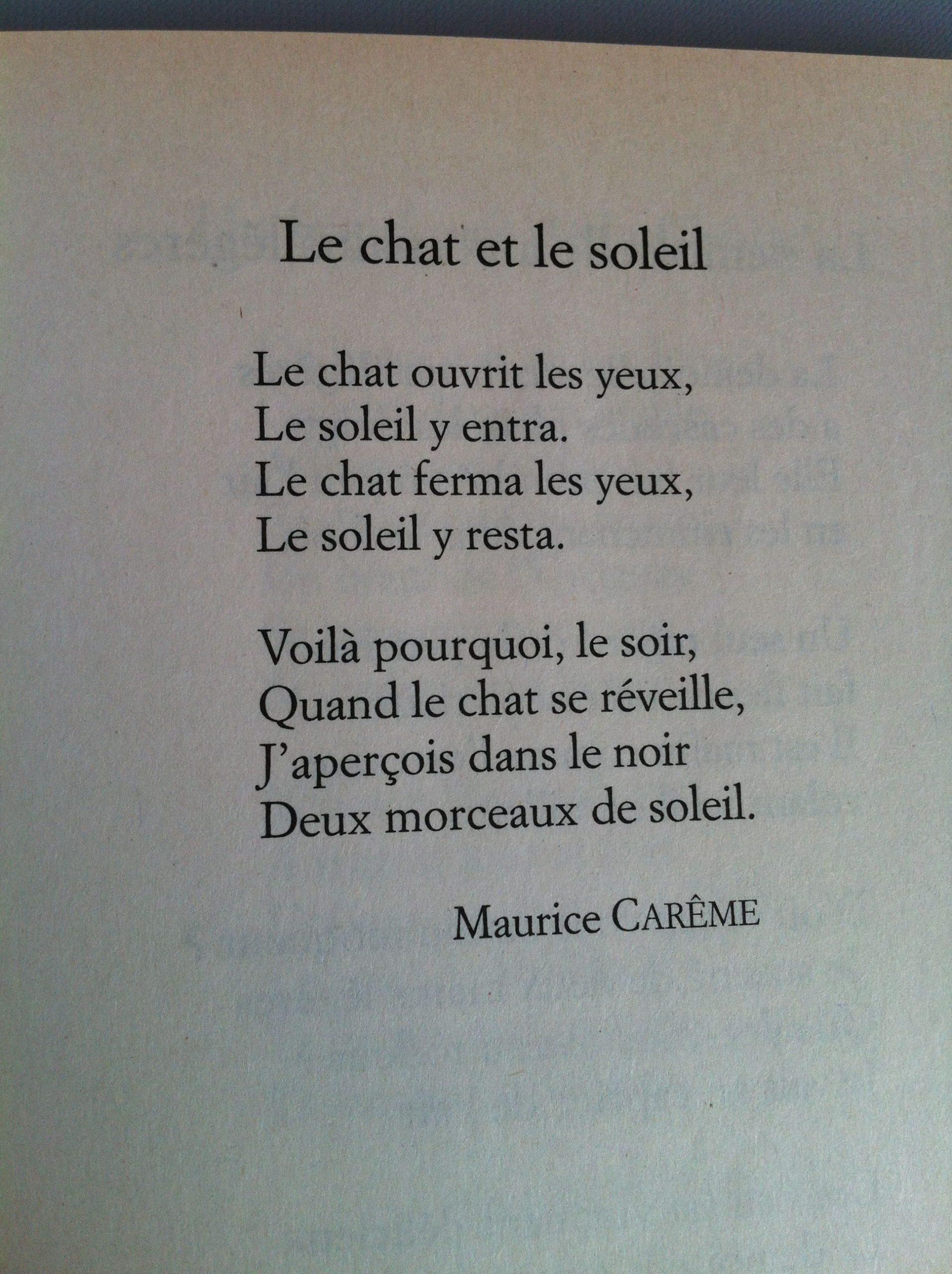 Le Chat Et Le Soleil, Maurice Carême | Proverbes Et serapportantà Poeme Maurice Careme