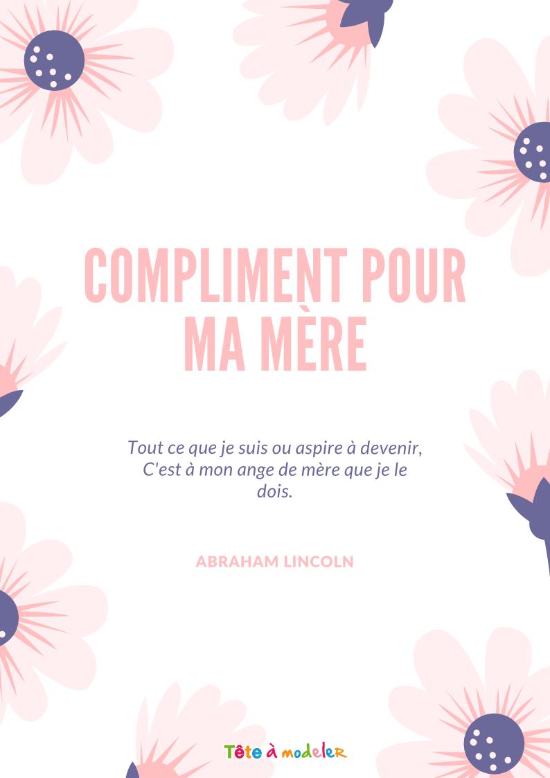 Le Compliment D'Abraham Lincoln - Citation Fête Des Mères destiné Jolie Poeme Pour Maman
