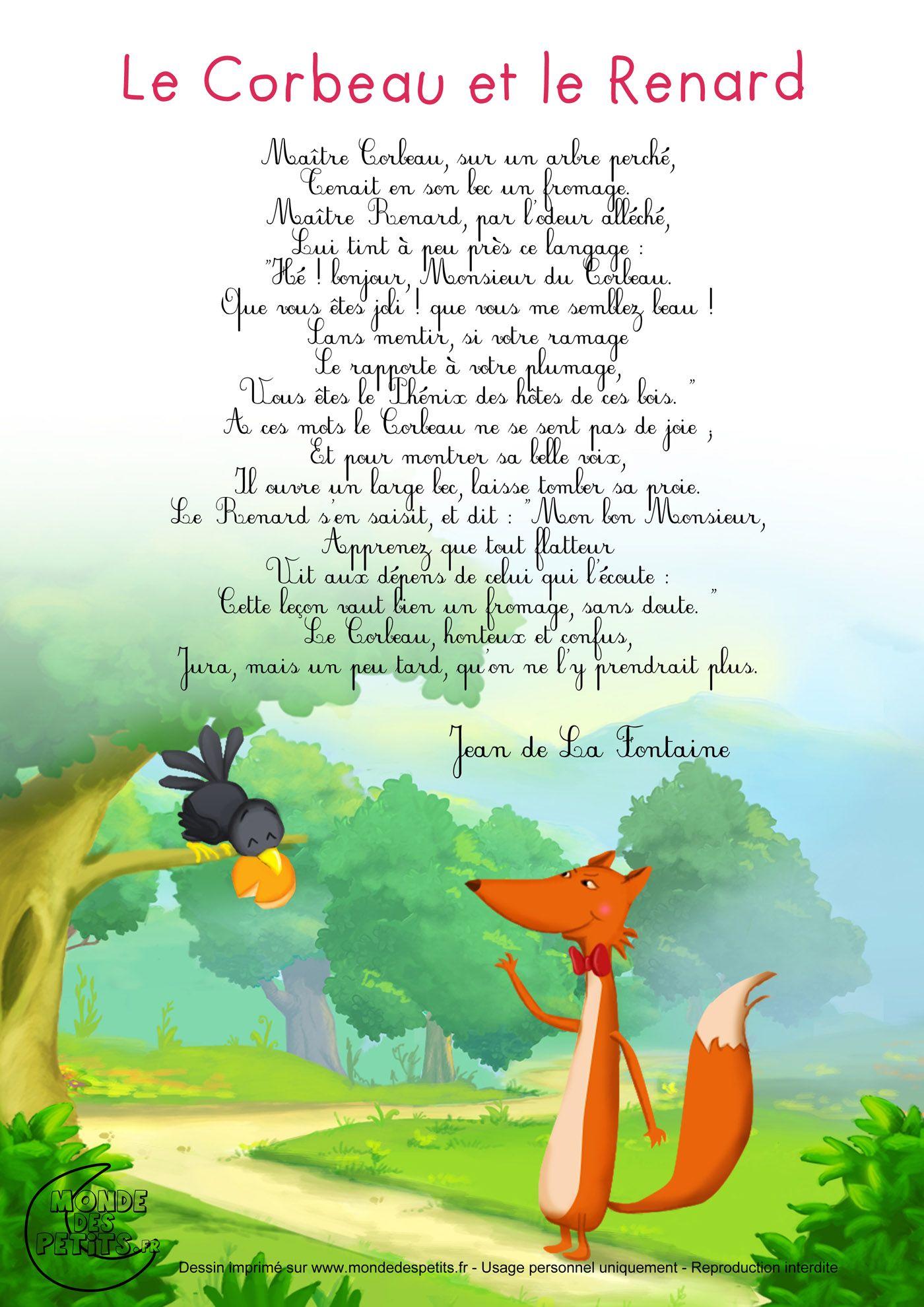 Le Corbeau Et Le Renard   Chansons Pour Enfants, Comptines destiné Illustration Le Corbeau Et Le Renard