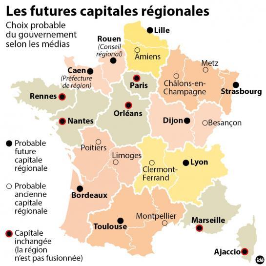 Les 13 Futures Capitales Régionales Françaises Dévoilées destiné Liste Des Régions Françaises