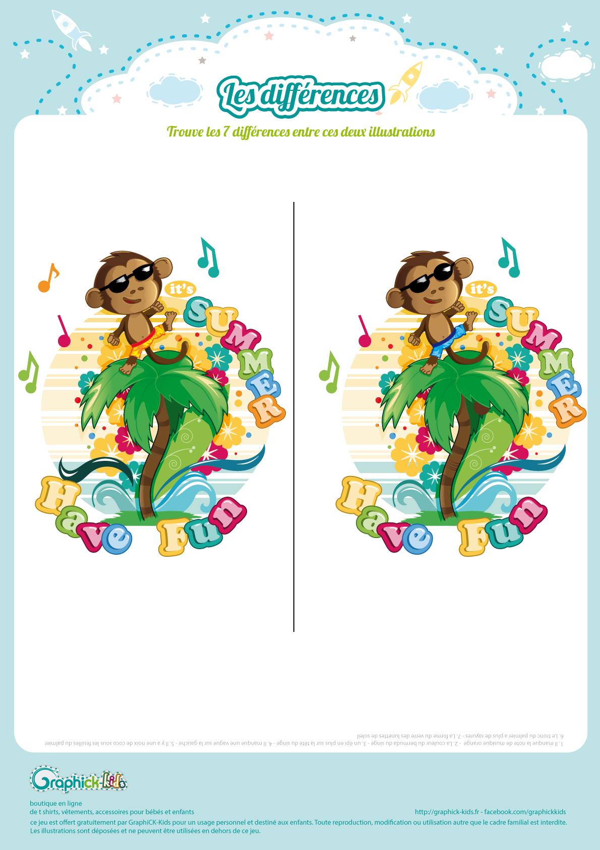 Les Différences - Graphick-Kids destiné Jeux Gratuits Pour Enfants De 7 Ans